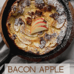 Overhead shot of Bacon Apple Dutch Baby in cast iron skillet.