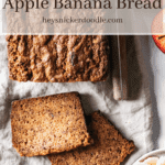 Overhead shot of Apple Banana Bread with two cut slices.
